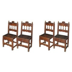 Set of Four Carved Dining Side Chairs, Spanish Colonial, Early 19th Century