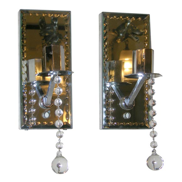 Pair of chain beveled mirrored sconces at 1stdibs for 14 wall street 20th floor new york new york 10005