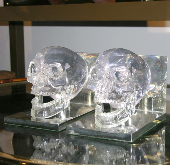 Lucite and Nickel Skull Bookends 2