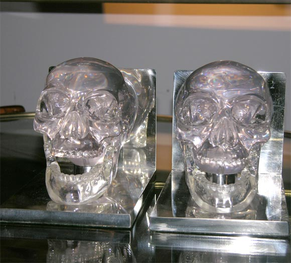 Lucite and Nickel Skull Bookends 3