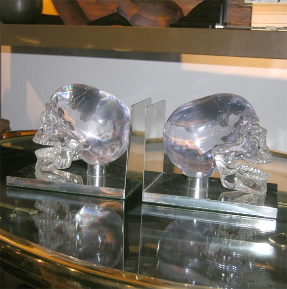 Lucite and Nickel Skull Bookends 4