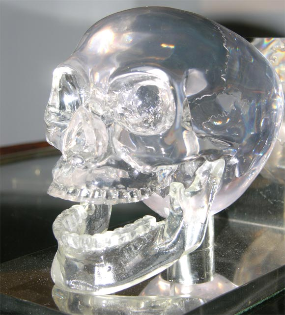 Lucite and Nickel Skull Bookends 6