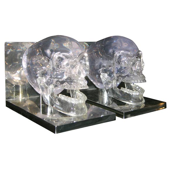 Lucite and Nickel Skull Bookends 1