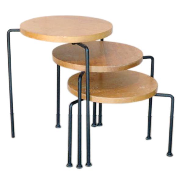 Set Of 3 Mahogany And Iron Nesting Stools Luther Conover At 1stdibs