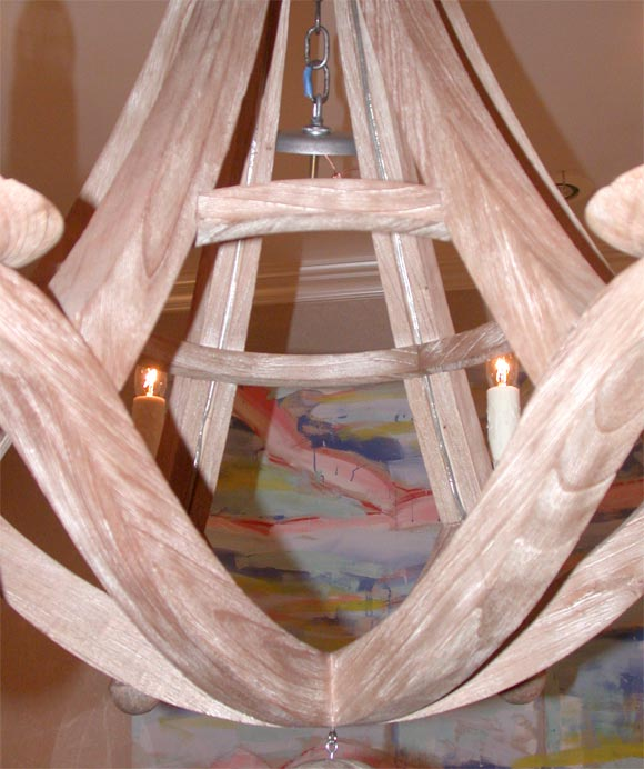 Wood 6 Lite Chandelier With Hanging Ball At 1stdibs