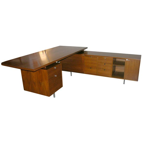 george nelson l shaped walnut executive desk herman miller at 1stdibs