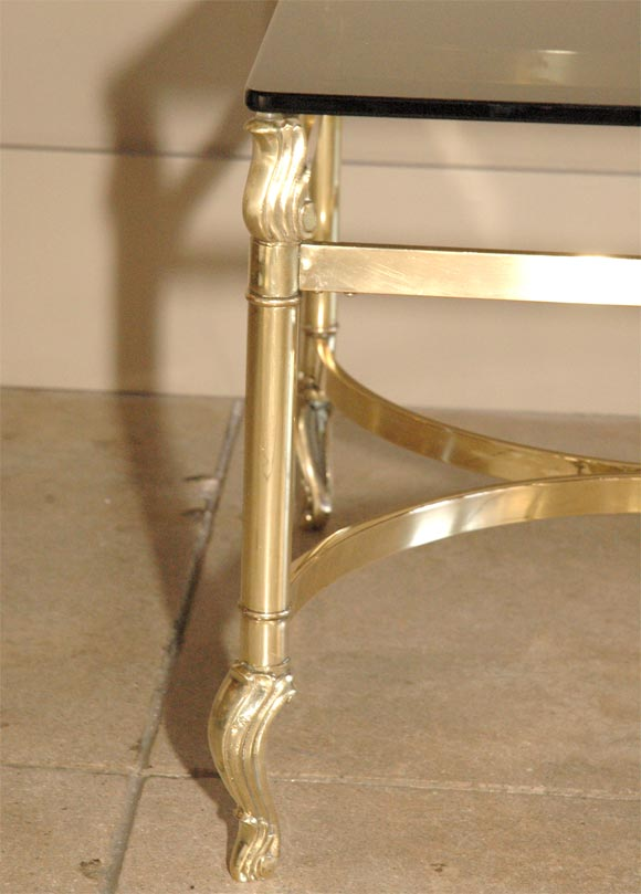 Brass Table With Smoked Glass Top At 1stdibs
