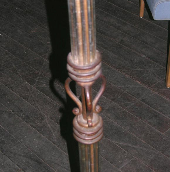 Mid-20th Century French Gilt Wrought Iron Floor Lamp For Sale