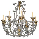 Large Giltwood and Crystal Chandelier
