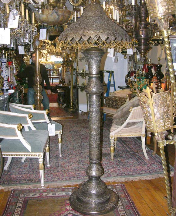 Middle Eastern Floor Lamp With Pierced Metal Shade At 1stdibs