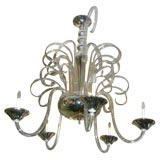 Large Art Deco Glass Chandelier