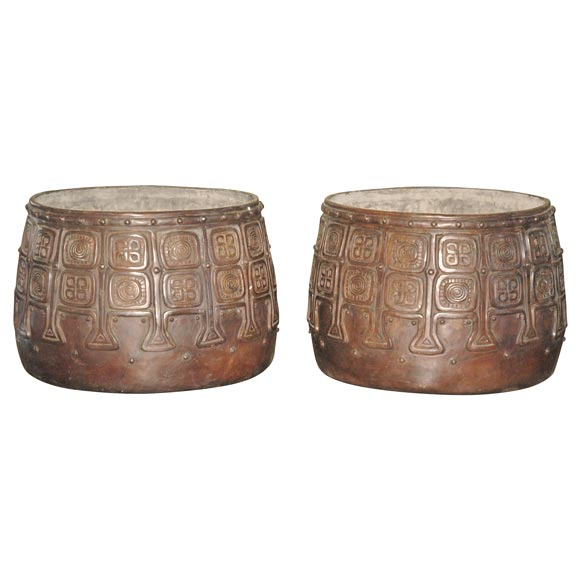 Pair Of Bronze Planters At 1stdibs