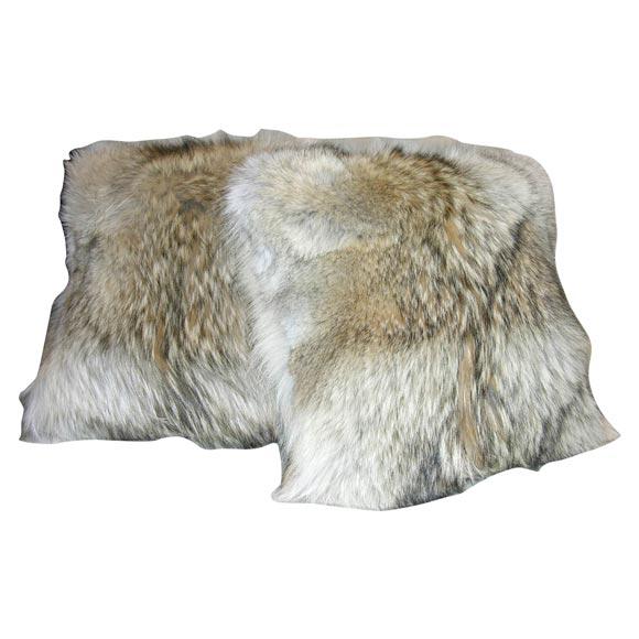 vintage coyote fur pillow 1