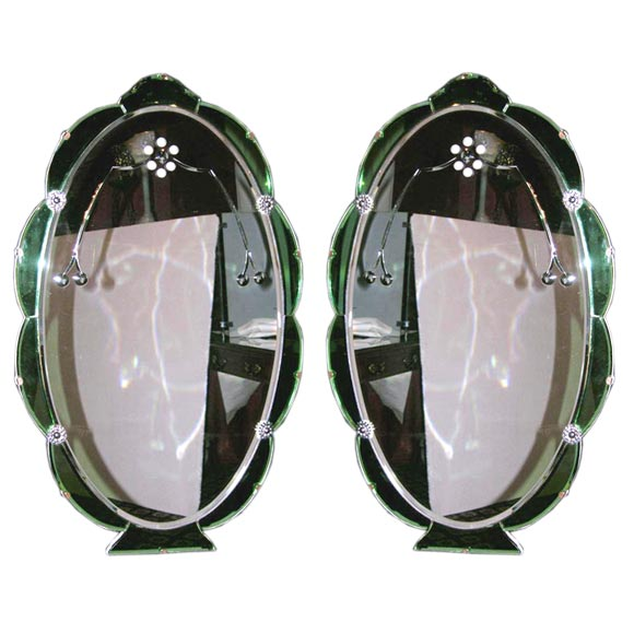 pair of english art deco oval mirrors at 1stdibs