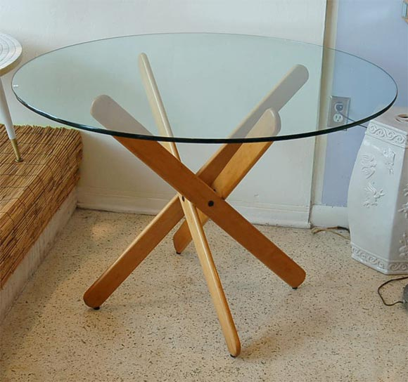 1home-glass-top-oak-cross-base-dining-table-w-4-6-leather-chairs-room-furniture-160c Dining Room Table Base