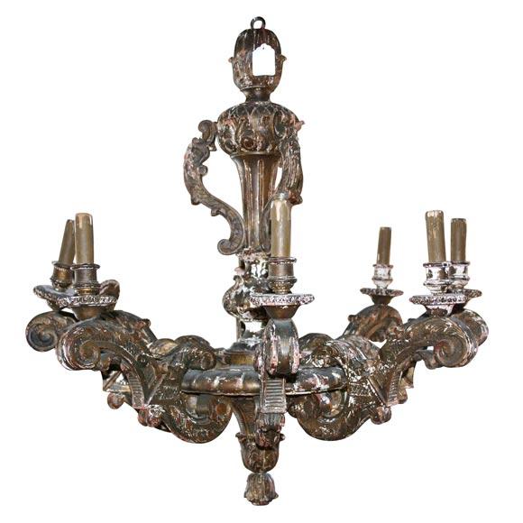 Distressed wood chandelier at 1stdibs