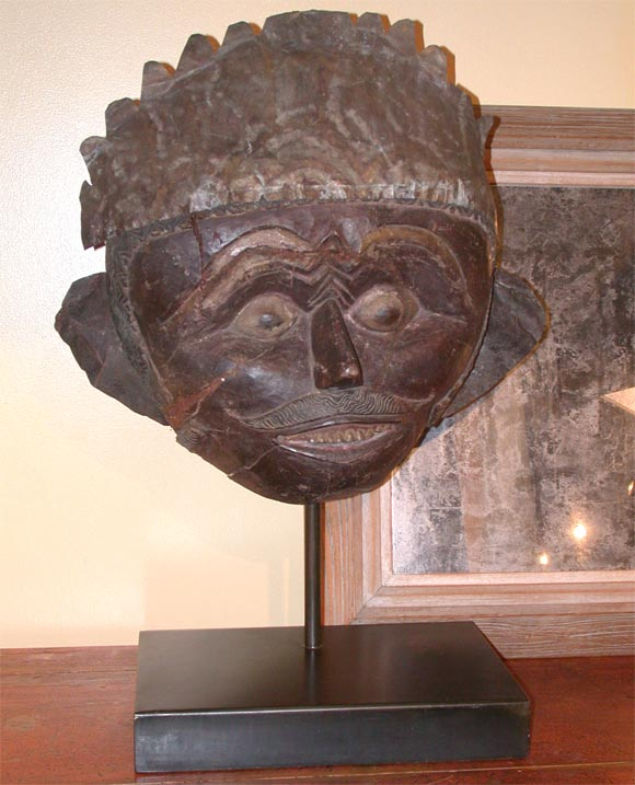 Javanese Carved Mask  on Steel Stand image 2