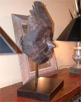 Javanese Carved Mask  on Steel Stand thumbnail 3
