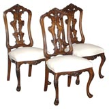 Set of Six Carved Fruitwood High-Back Dining Chairs