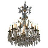 Antique French Baccarat crystal and bronze 30-light chandelier