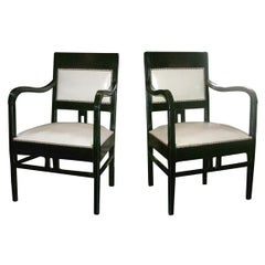 Pair of Early 20th Century Ebonized Fauteuils