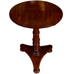 19th Century Circular Tilt Top End Table on a Turned Pedestal