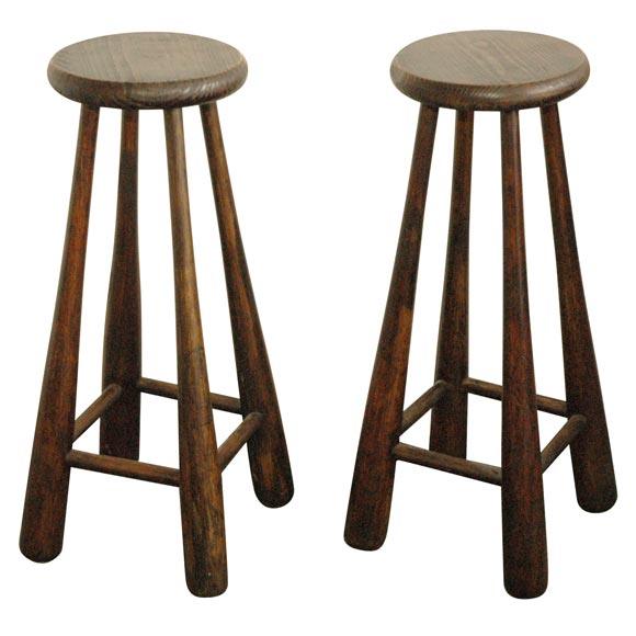 Attirant PAIR OF VINTAGE BASEBALL BAT BAR STOOLS For Sale