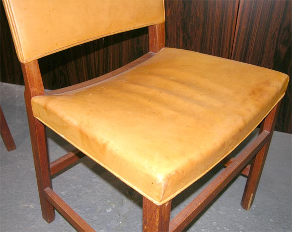 pair of 1940 39 s teak leather salon chairs at 1stdibs