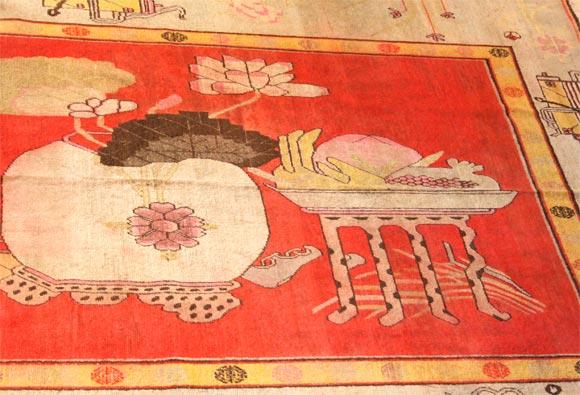 Chinese Antique Khotan Carpet For Sale