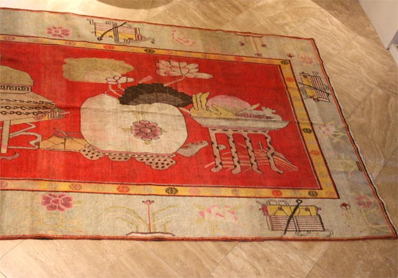 Antique Khotan Carpet For Sale 1
