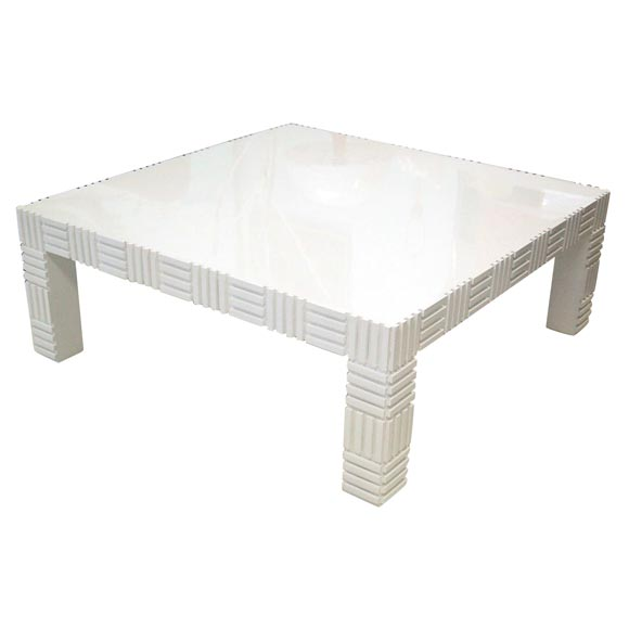 Modernist White Lacquered Parson Coffee Table At 1stdibs