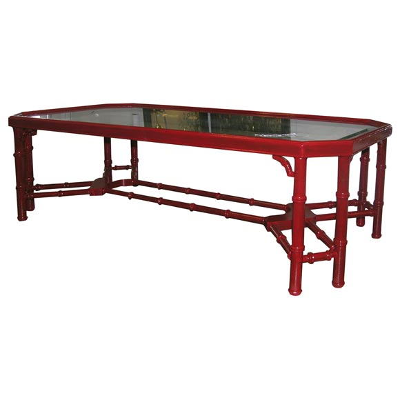 Red Faux Bamboo Coffee Table At 1stdibs