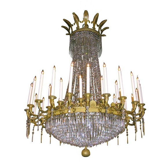 Grand Neo Classic Bronze And Crystal 36 Lite Chandelier