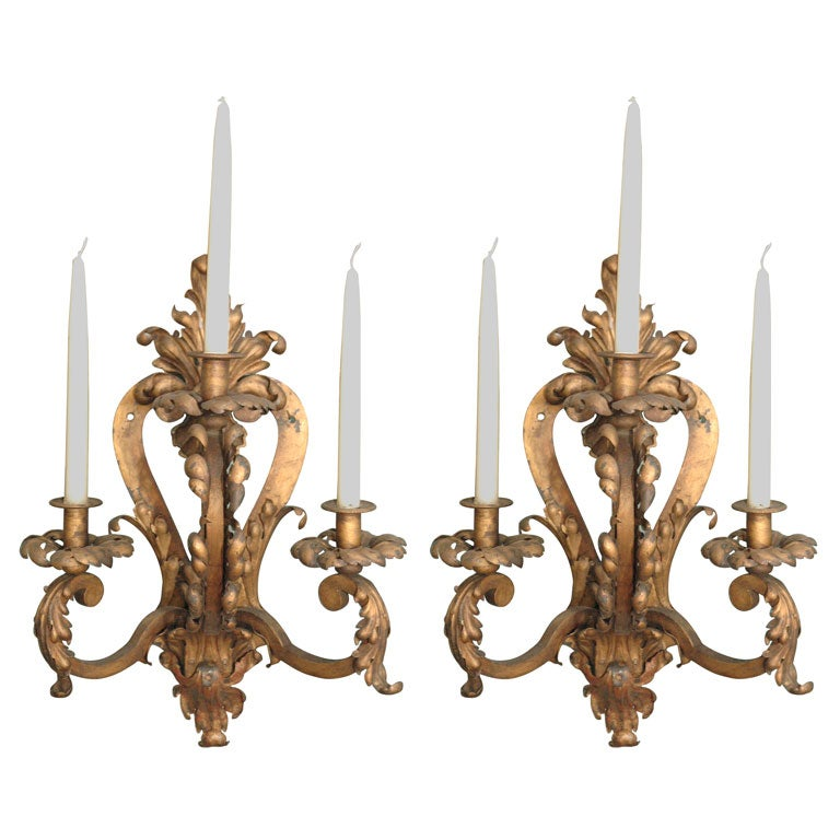 Pair of large gilt wrought iron sconces at 1stdibs