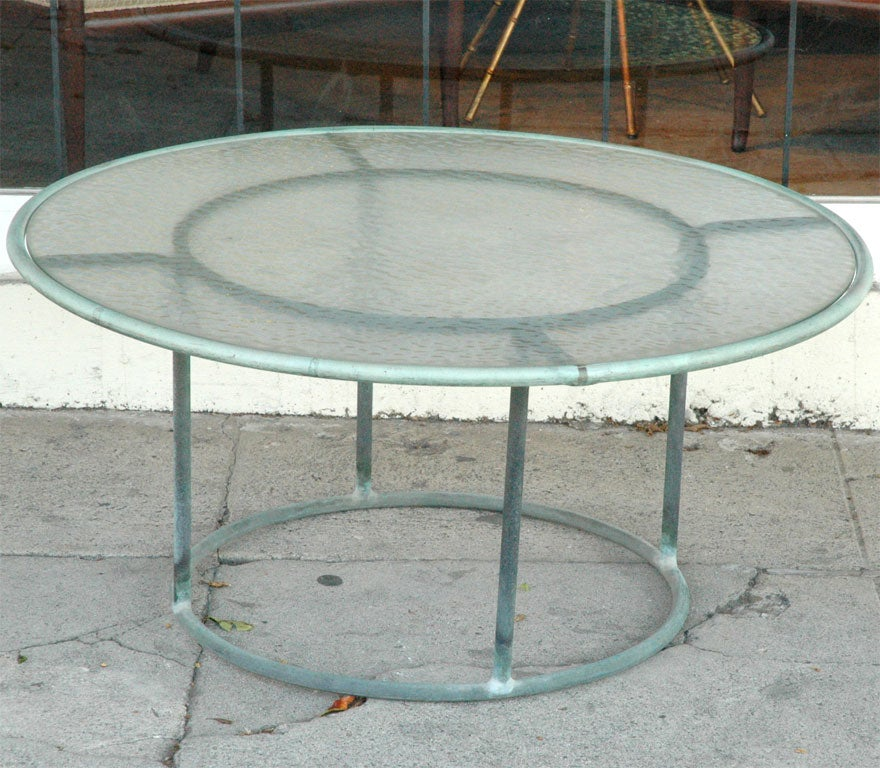 Walter Lamb Bronze Round Coffee Cocktail Patio Table At 1stdibs