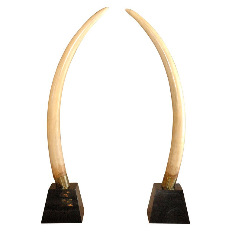 Pair resin elephant tusks at 1stdibs