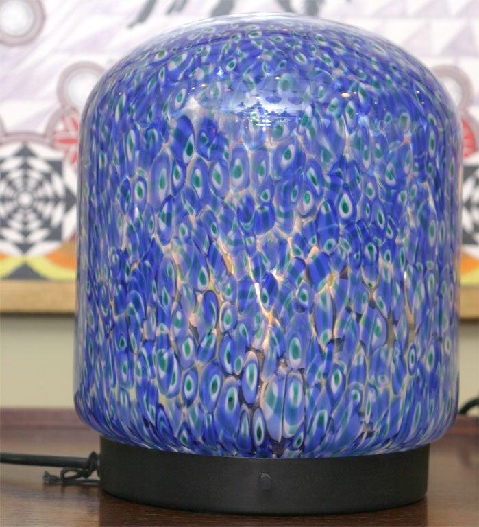 Italian Gae Aulenti for Vistosi Murano Blue Murrine Table Lamps For Sale