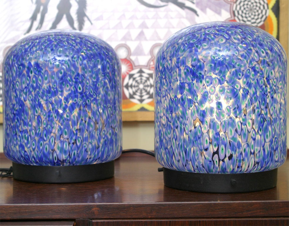 Mid-20th Century Gae Aulenti for Vistosi Murano Blue Murrine Table Lamps For Sale