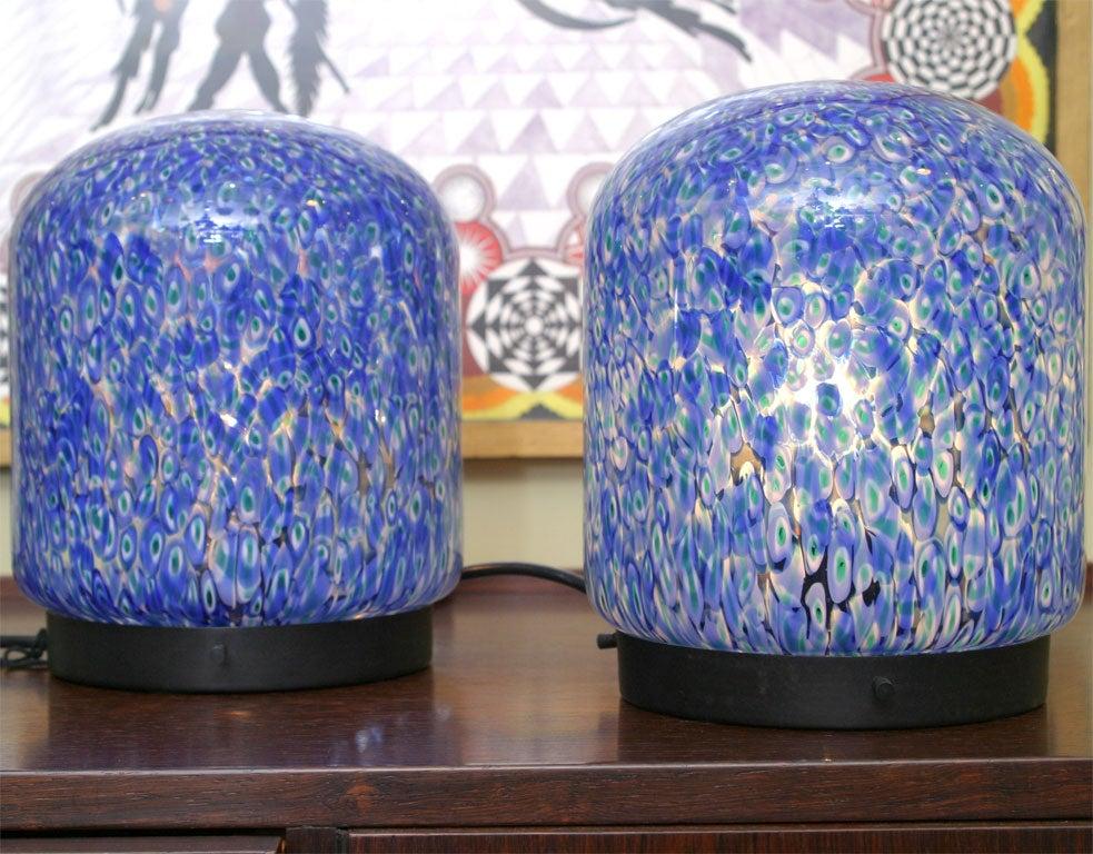 Gae Aulenti for Vistosi Murano Blue Murrine Table Lamps 5