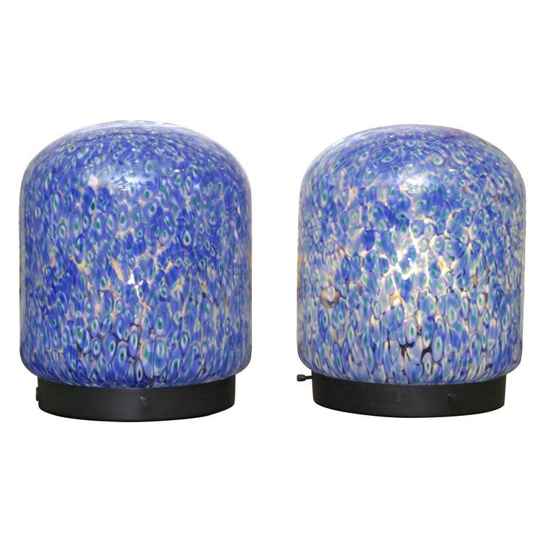 Gae Aulenti for Vistosi Murano Blue Murrine Table Lamps For Sale
