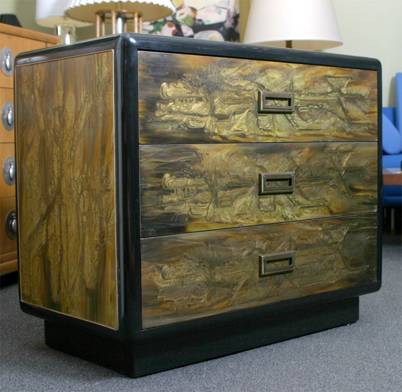 Etched Metal Panels : Mastercraft dresser with acid etched metal panels laverne