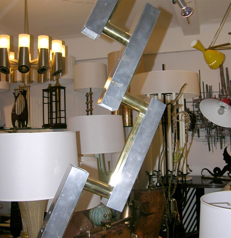Italian  Table Lamps Pair of Mid Century Modern Architectural I6taly 1960's For Sale