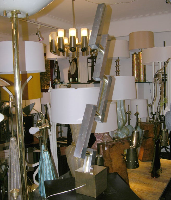 Brass  Table Lamps Pair of Mid Century Modern Architectural I6taly 1960's For Sale