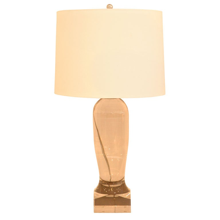 this a cast lucite table lamp with custom silk shade is no longer. Black Bedroom Furniture Sets. Home Design Ideas