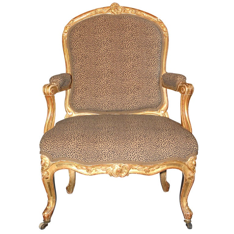Louis xv style giltwood fauteuil for sale at 1stdibs - Fauteuil style louis xv ...