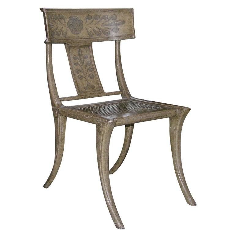 Swedish neoclassical painted metal Klismos chair at 1stdibs