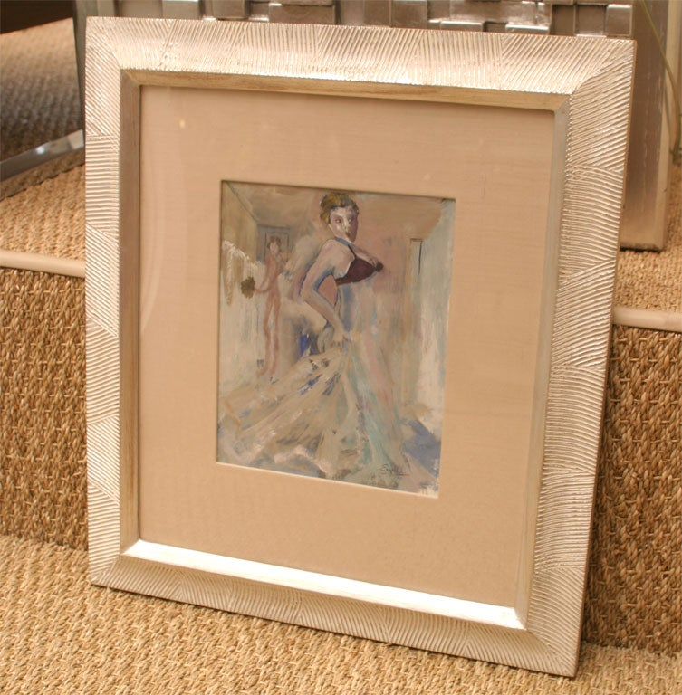 This sensual and erotic like one of a kind original work of art by Leo Engels is of the Art Deco period. It is a combination of gouache and water color. It is Belgium. There are beautiful pastel tones mixed with a touch of aubergine and deep blue.