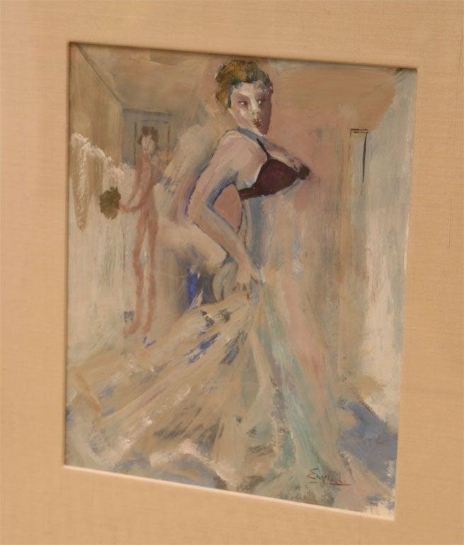 Belgian Art Deco Gouache and Watercolor Painting by Leo Engels Belgium Vintage For Sale