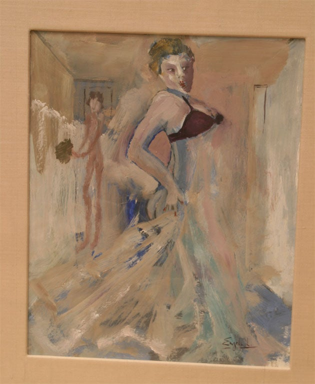 Art Deco Gouache and Watercolor Painting by Leo Engels Belgium Vintage In Good Condition For Sale In North Miami, FL