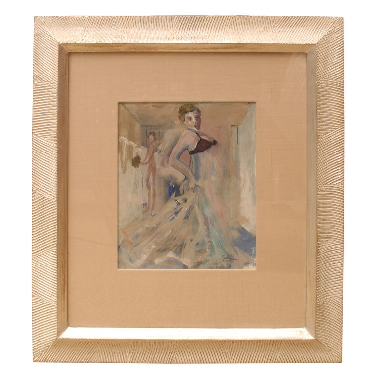 Signed Belgian Art Deco Gouache and Watercolor Painting by Leo Engels